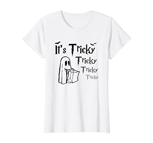 7cf44869 Womens It's Tricky Halloween T-Shirt Funny Ghost Trick or Treat Small White