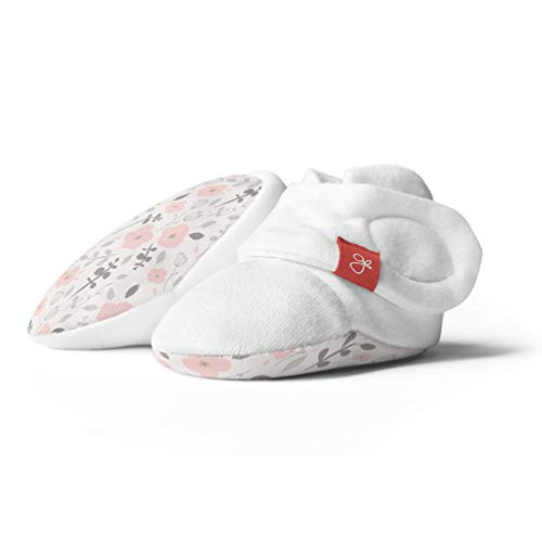 Baby Booties, Adjustable, Soft & Secure (0-3 Months, Enchanted Garden)