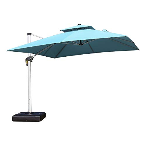 9' Silver Aluminum Pole - PURPLE LEAF 9 Feet Double Top Deluxe Square Patio Umbrella Offset Hanging Umbrella Cantilever Umbrella Outdoor Market Umbrella Garden Umbrella, Turquoise Blue