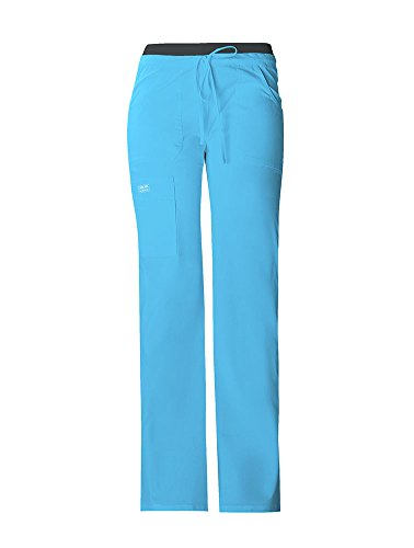 Cherokee Workwear Core Stretch Women's 24001 Low-Rise Knit Waist Cargo Pant- Turquoise- X-Small - Low Cotton Waist Stretch