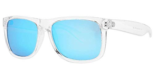 PZ Polarized Sunglasses for Women or Men - UV400 Gradient Color Mirror Lens- Retro Sports Beach (Transparent + Ice Blue ()