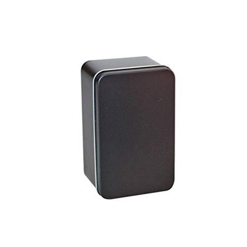 Yardwe Rectangular Empty Tin Metal Tin Box Containers Gift Candy Loose Tea Storage Organizer - 13x8x6cm (Black)
