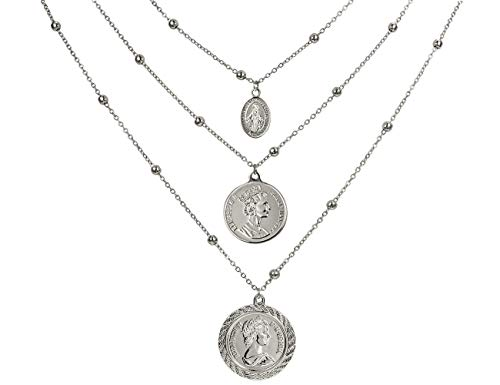 ACC PLANET Coin Pendant Necklace Silver Plated Canadian Coin Station Chain Coin Vintage Layered Necklace for Women Jewelry