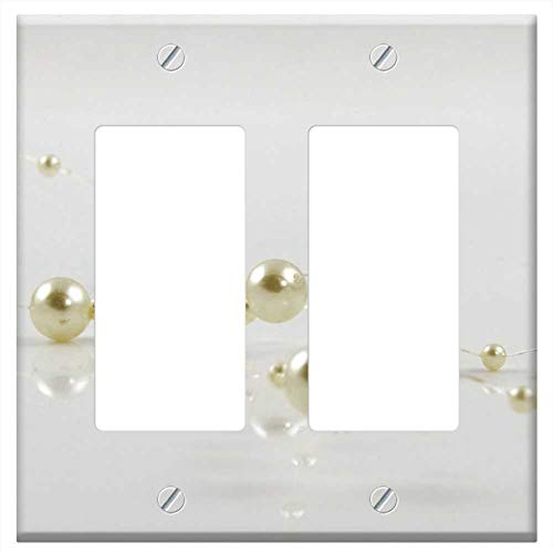 Switch Plate Double Rocker/GFCI - Beads Deco Decoration Artificial Pearls Plastic
