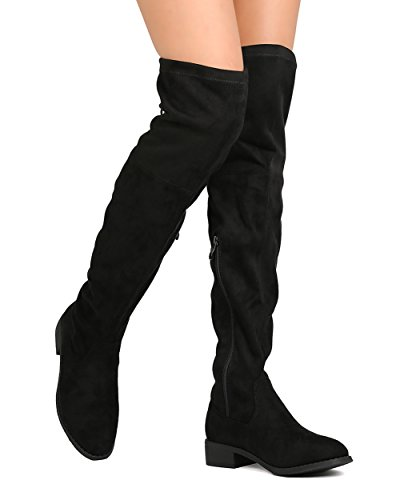 Women's Over the Knee Boots Back Tie Up Low Heel Drawstring Dress Thigh High Riding Boots Black 9