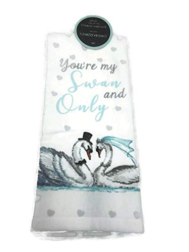 Cynthia Rowley You're My Swan and Only Swans Wedding Bride Groom Kitchen Towel Set of Two