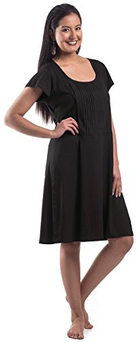Discreet Maternity Nursing Nightgown / Breastfeeding Sleepwear (large, Black (Pintuck (Bella Robe)