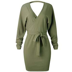 Sexy Col V De Femmes Manches Longues Angashion Dos Nu Robe Chauve-souris Moulante Avec Le Vert De La Ceinture