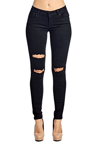 2LUV Women's Stretchy Butt Lift 5 Pocket Ripped Skinny Jeans Black 9 (Low Rise Mid Rise Jeans)