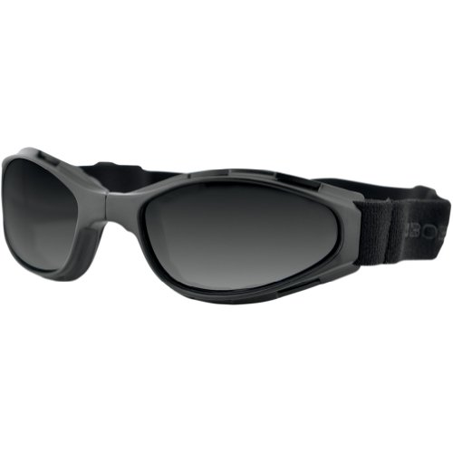 Bobster Crossfire Folding Adult Cruiser Motorcycle Goggles Eyewear - Black/Smoke / One Size Fits All