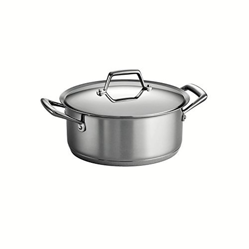 Tramontina Gourmet Prima 18/10 Stainless Steel Tri-Ply Base Covered Sauce Pot, 6-Quart, Silver by Tramontina