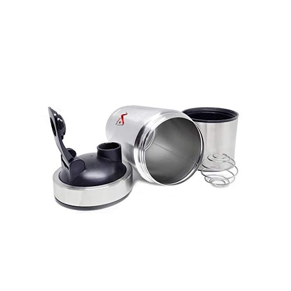 Homeish Stainless Steel Shaker for Gym with Extra Storage Compartment for Protein Shakes/Smoothies/Supplements (Silver… 2021 July Made up of 304 Food Grade Stainless Steel; BPA Free, Unreakable, Sturdy, Rust Proof, Airtight, Leakproof Approx. Capacity of 750 ml (Including 250ml extra compartment for storage at the Bottom) Steel Wire Mixer for an easy and lump free mixing