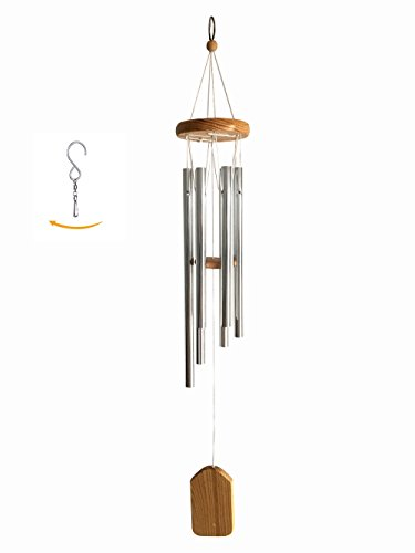 Wind Chimes 24' Resonant 6 Hollow Aluminum Metal Tubes Hanging Outdoor Windchime with S Hook for Patio Garden