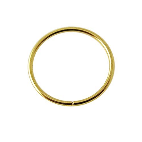 14K Yellow Gold 22 Gauge - 8MM Diameter Seamless Continuous Open Hoop Nose Piercing Ring Jewelry