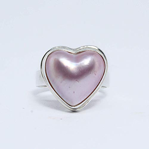 (Heart pink mabe pearl ring, Bali handmade 925 sterling silver ring with enchanting 13 * 13 mm pink mabe, perfect pink mabe, heart ring, pink mabe pearl ring)