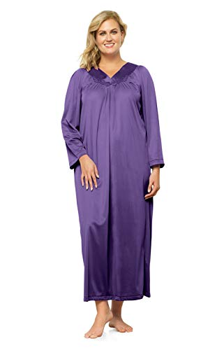 Ankle Length Gown - Exquisite Form Plus Size Women's Long Sleeve Ankle Length Gown 50807, Purple Potion, 1XL
