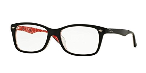 Ray-Ban Women's RX5228F Eyeglasses Top Black On White/Red - And Ray Ban Red Black Eyeglasses