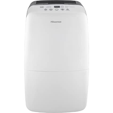 Hisense Energy Efficiant Dehumidifier with Built-In 1200W (4095 BTUs) Heater, Electronic Control Panel w/Heat Function, 3 Running Modes, Drain Hose Connection for Continuous Drainage (Hose Not Included), Washable Filter, Caster (Hisense Dehumidifier)
