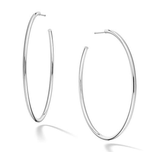 C-hoop Gold 14k Earrings (Miabella 925 Sterling Silver Italian 2mm Polished Round J Hoop Earrings for Women 50mm, 60mm (60mm))