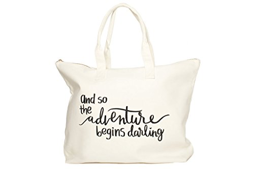 Canvas Tote Bag with Special Saying - Zipper Top, Interior Pocket, 100% Cotton (Wedding Tote)
