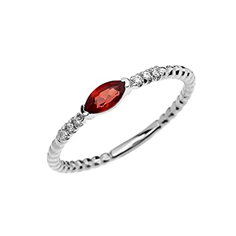 14k White Gold Dainty Diamond and Marquise Garnet Beaded Stackable/Promise Ring(Size 7.5) (Ring Garnet Gold)