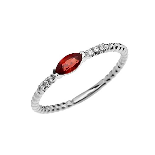 (10k White Gold Dainty Diamond and Marquise Garnet Beaded Stackable/Promise Ring (Size 9))
