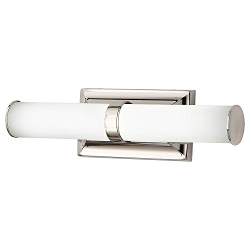 Home Decorators Collection 12-Watt Polished Nickel Integrated LED Bath Light with Tube Etched Glass