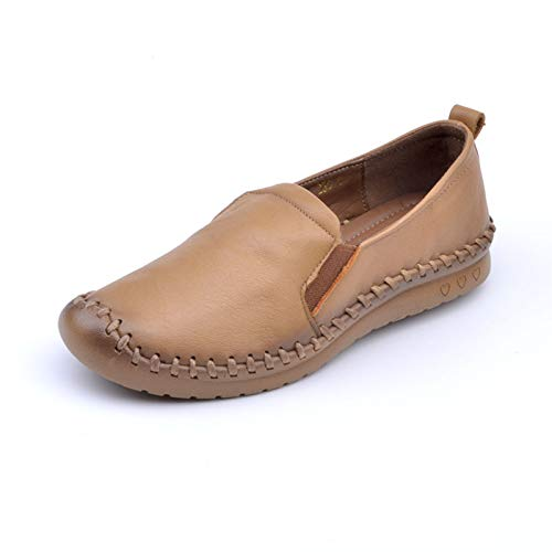 non sole stitched slip yellow leather soft Hand FLYRCX shoes shoes shoes comfortable casual wedges qIHw8Cx