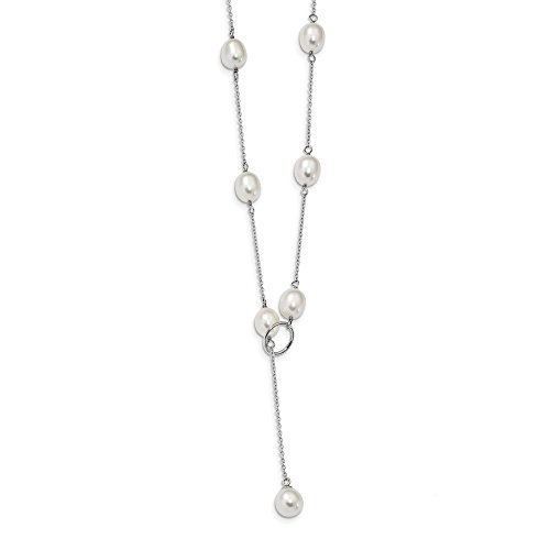 925 Sterling Silver Rh 8mm White Freshwater Cultured Pearl Toggle Chain Necklace Pendant Charm Bead Station Fine Jewelry Gifts For Women For Her ()