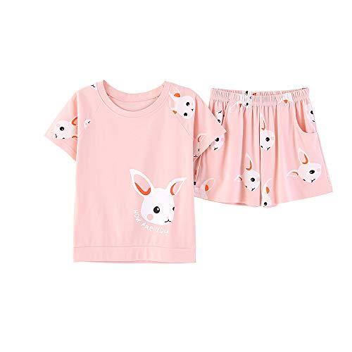 (Cute Comfy Summer Rabbit Cotton Pajamas Set Soft Pink Bunnies Shorts Sleepwear for Big Girls (L=Size 14, Pink&)
