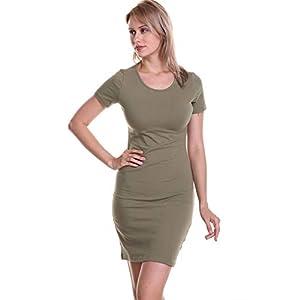 Soatrld Women's 3/4 Sleeve White Black Striped Mini Bodycon Dress Wear to Work Casual Party Pencil Dresses