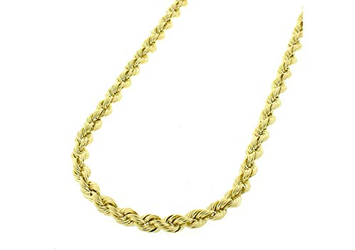 (10K Gold 2MM 3MM 4MM Diamond Cut Rope Chain Necklace for Men and Women- Braided Twist Chain Necklace, 10K Gold Necklace, 10 Karat Gold Chain, Sizes 16-38)
