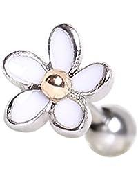 316L Stainless Steel Sweet White Daisy Flower Cartilage Earring | 16 Gauge