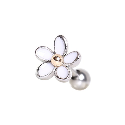 316L Stainless Steel Sweet White Daisy Flower Cartilage Earring | 16 Gauge