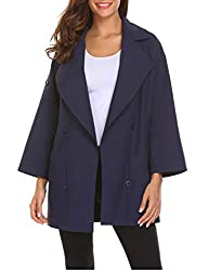Se Miu Women S Lapel Trench Coat Button Loose Casual Open Front Oversize Coat Navy Blue Xl
