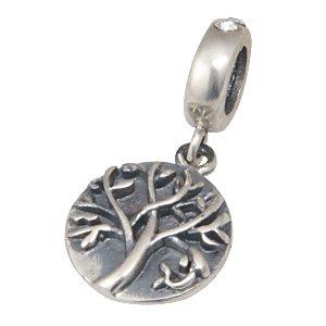 Tree of Life April Birthstone Dangle 925 Sterling Silver Bead Fits European Charm Bracelet