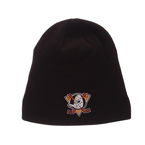 ZHATS Anaheim Mighty Ducks Black Edge Skull Cap - NHL Cuffless Winter Knit Beanie Toque Hat ()