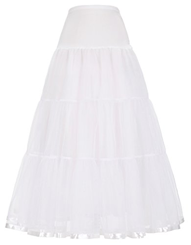 GRACE KARIN 50's Ladies Floor-Length Slip Petticoat for Bridal Dress (S, White)