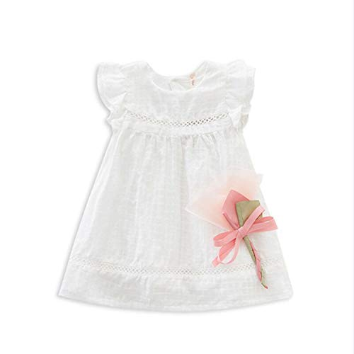 New Retail-Brand Summer Lace Cute Baby Dress,Party Wedding Birthday Baby Girls Dresses,Princess Infant Dress Baby Clothing White 9M -