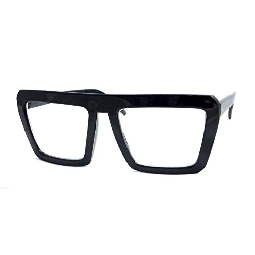 RETRO Geometric Bold Flat Top Nerd Square Frame Clear Len Eye Glasse (Black, - Glasse Prescription