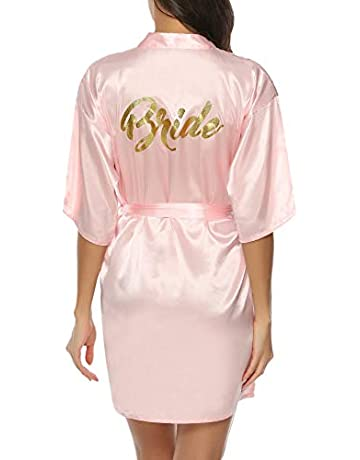 81ca40d813 Hawiton Women's Satin Silk Bride & Bridesmaid Robe Gold Glitter Wedding  Party Kimono Robes