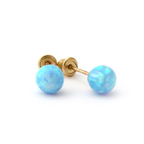 Sterling Silver Light Blue Simulated Round Opal Ball Stud Earrings with Baby Safe Screwbacks - 5mm Opal Ball Stud