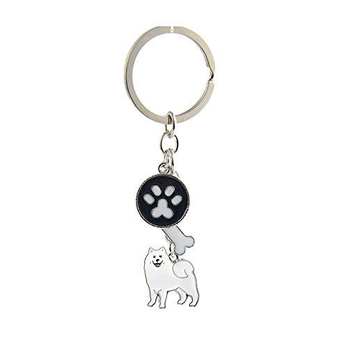 (Key-ring Keychain,Cute Metal Small Dog Puppy Keychain Keyring Keyfob Car Bag Charm Dog Tag Chains Birthday Christmas Gift (Samoyed))