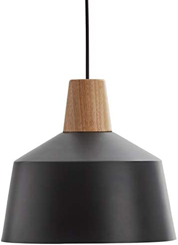 Rivet Modern Round Metal Shade Wood Accent Pendant With Light Bulb – 10.75 x 10.75 x 6.75 Inches, 27.5 Inch Cord, Black