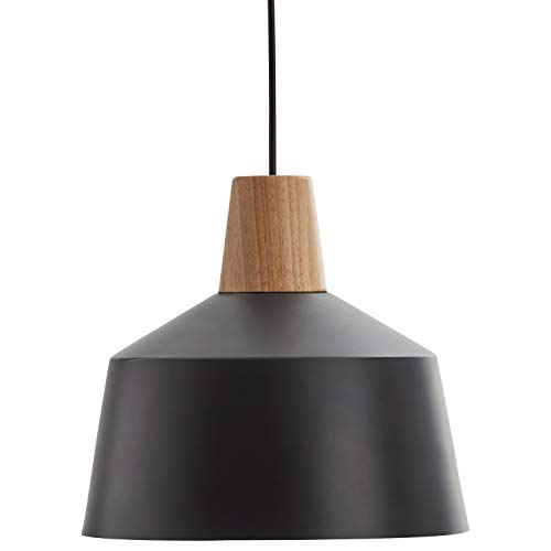 Rivet Modern Metal Shade with Wood Accent Pendant with Bulb, 38