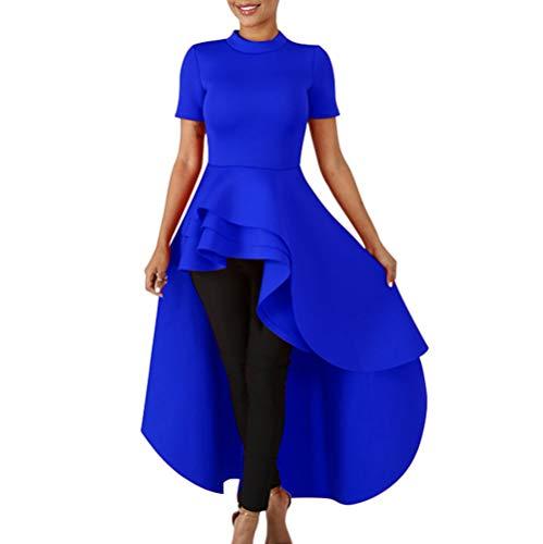 (Annystore High Low Tops for Women - Ruffle Short Sleeve Bodycon Peplum Shirt Dresses Blue)