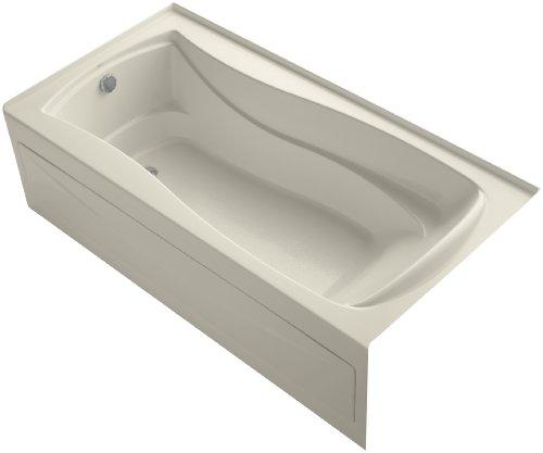 Kohler K-1259-LA-47 Mariposa Bath with Integral Apron, Tile Flange and Left-Hand Drain, Almond