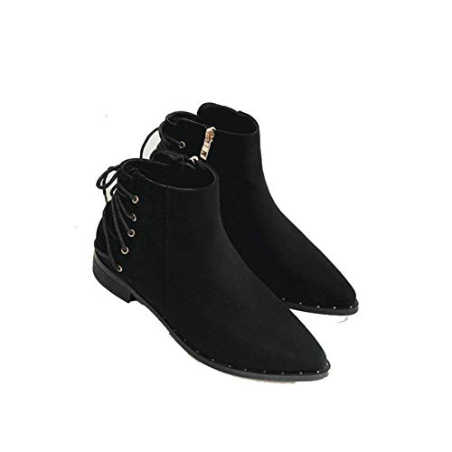 Cremallera Correas Remaches 38 34 Cruzadas Helados Sed Con Botas Remaches Eu negro Gruesa Zapatos Señoras Retro Eu nZInqFXH