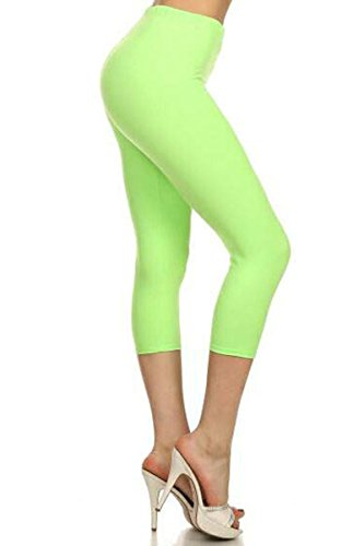 Leggings Depot Women's Popular Basic Capri Cropped REGULAR and PLUS Solid High Waist Leggings (Regular (Size 0-12), Neon Lime)