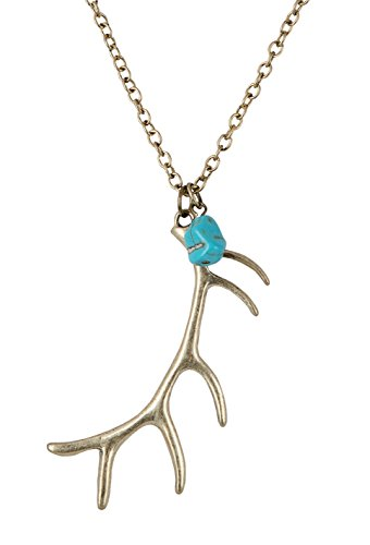 SPUNKYsoul Gold Brass Bohemia Tribal Deer Antler Pendant Necklace Collection